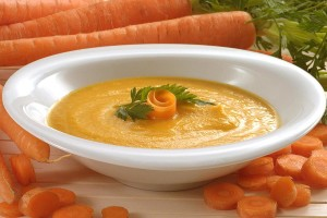 Plate with soup-puree
