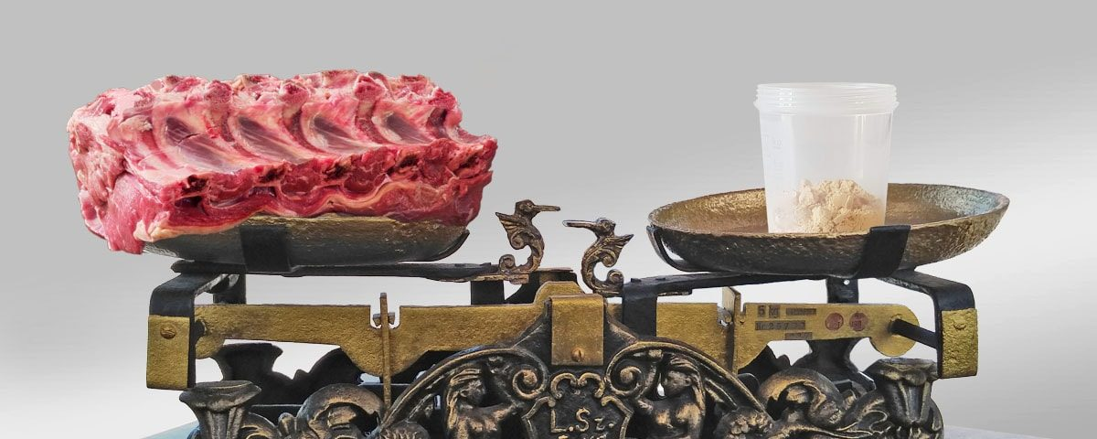 Meat and Cocktail Natural Balance on scales