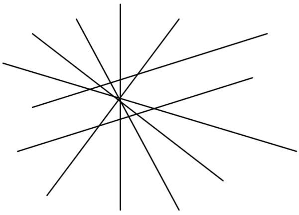 Эффект иллюзии непараллельных прямых для параллельных линий.